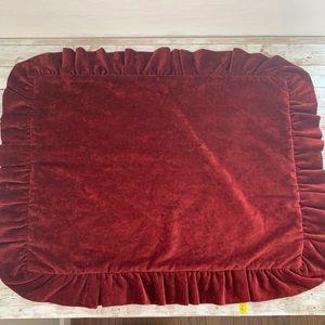 Ethan Allen ruffled velvet upholstery pillow cover